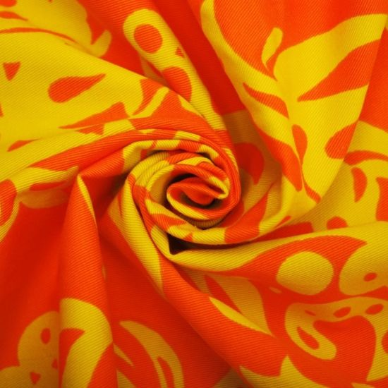 100 Cotton Twill Fabric Printed Fabric Floral Fabric Orange Fabric Yellow Fabric 165 X 130cm